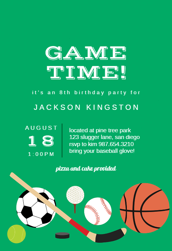 Multi Sports Sports Games Invitation Template Free Greetings Island Sports Invitations Invitation Template Sports Party Invitations