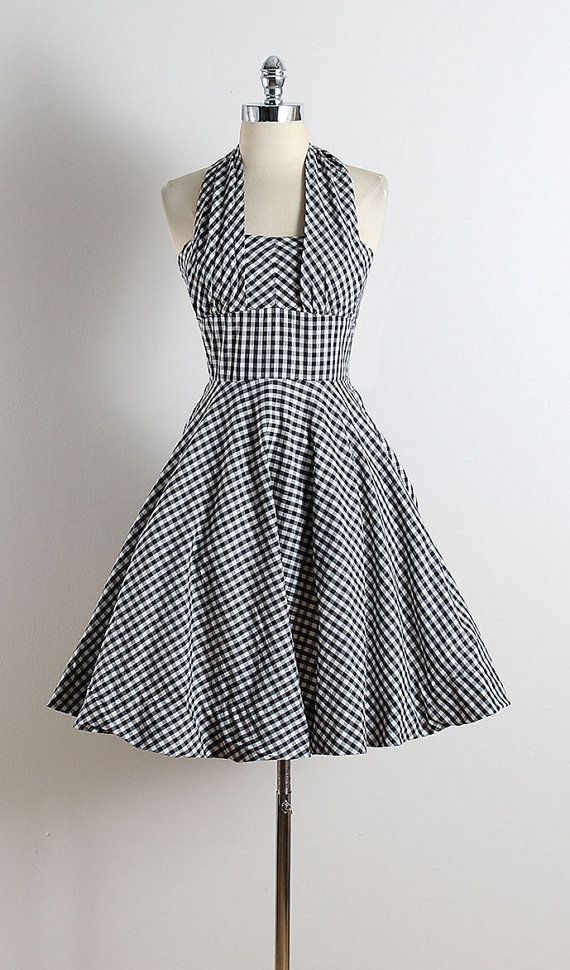 bcd9d1c48959 Vintage Outfits · Robes Pin Up · Gingham Dress · Bikinis · ➳ vintage 1950s  dress   black  amp  white gingham print cotton   halter strap