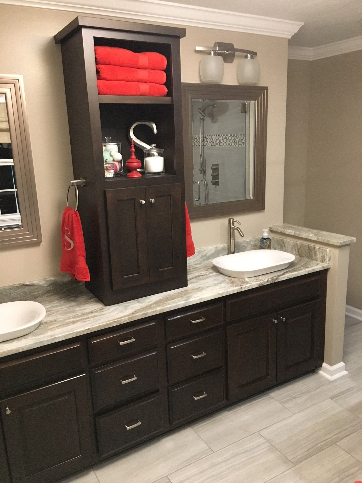 Fantasy Brown Vanity Top w Center Linen Tower
