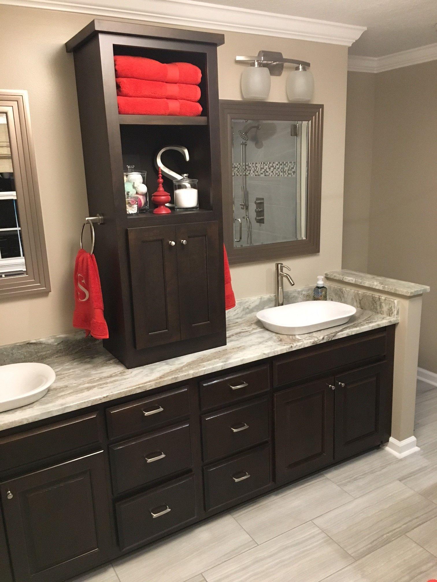Fantasy Brown Vanity Top W Center Linen Tower Unique Bathroom