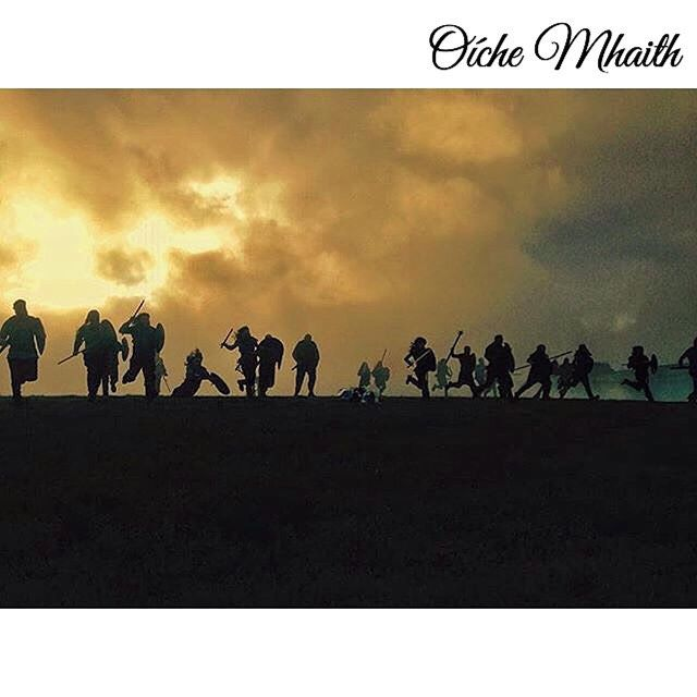 """Good Night From Ireland  The setting sun silhouettes these Vikings as the charge through Wicklow. The TV series """"Vikings"""" is filmed in Ireland one of two major international shows that do so (Game of Thrones"""" is the other). This picture from the set was taken by @lochlainnmckenna and edited by @glarch (who is in there somewhere)."""