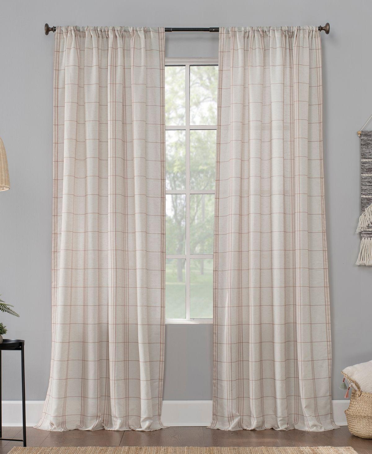 No 918 Castille Farmhouse Plaid Semi Sheer Curtain Panel 54x84