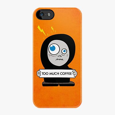 Funny #coffee #iPhone case with a cartoon character who has drank too much coffee. Available also as an iPod Touch, iPad and Galaxy S4 case.