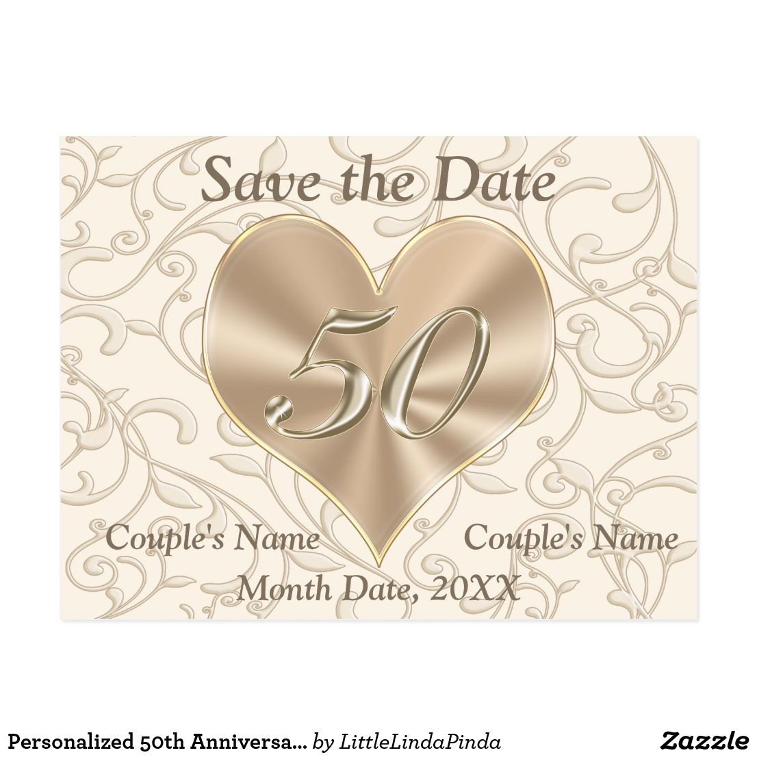 Personalized 50th Anniversary Save the Date Cards Zazzle