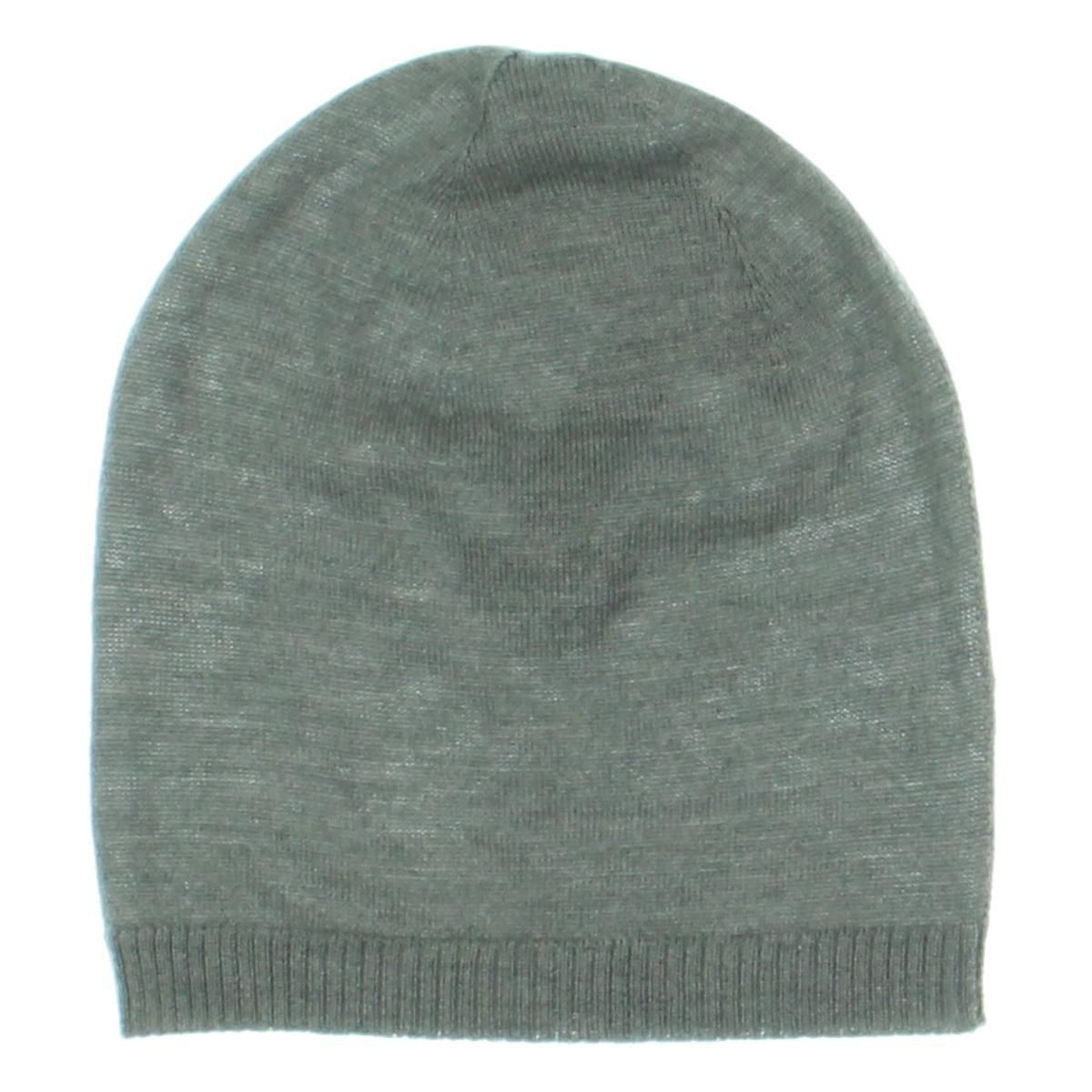 Eileen Fisher Womens Merino Wool Ribbed Trim Beanie Hat
