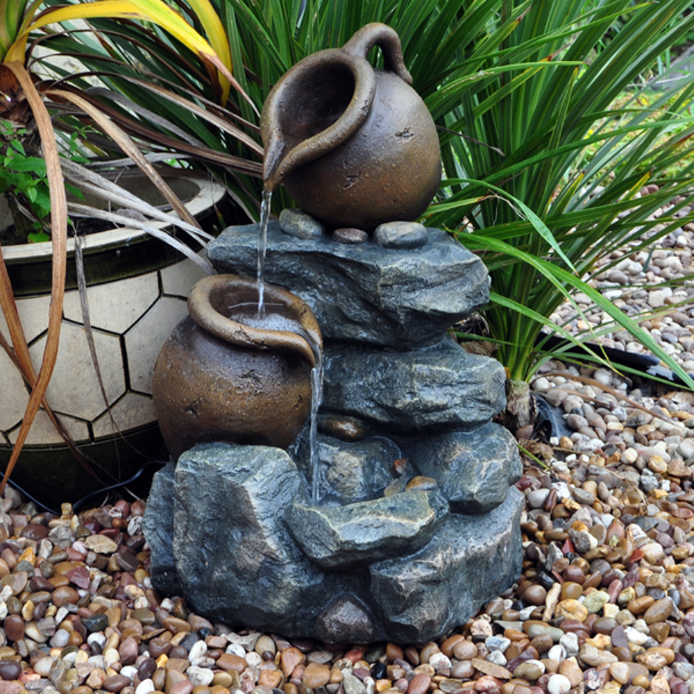 garden water features home kingfisher kingfisher twin jug rock garden water feature