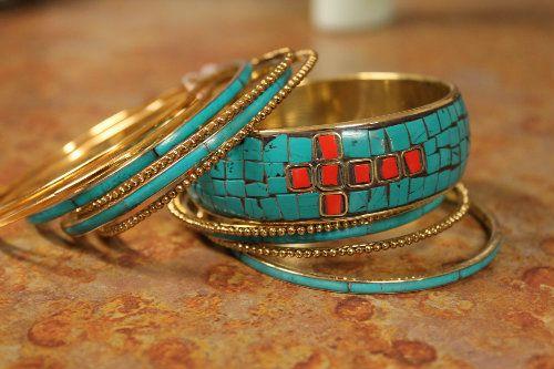 Turquoise Inlay Multi Bangle Bracelet  Set-Turquoise, Inlay, Multi, Bangle, Bracelet , Set