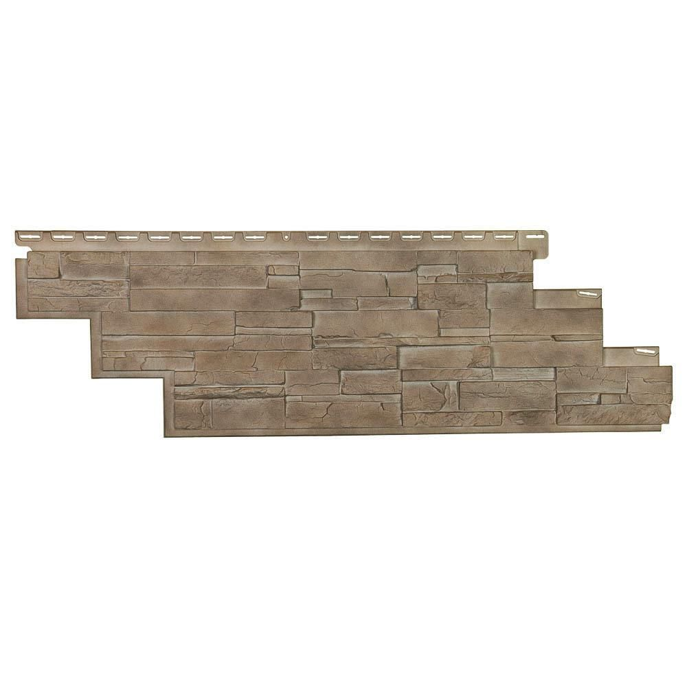 Novik Dry Stacked Stone 41 1 2 In X 13 1 8 In Brownstone Vinyl Siding 10 Pack 100545004 The Home Depot In 2020 Dry Stack Stone Stacked Stone Stacked Stone Walls