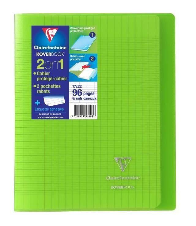 CLAIREFONTAINE – Carnet de notes à rabats KOVERBOOK – 17 x 22 – 96 pages Seyes – Couverture en polypropylène translucide – Vert – 520611   – Products