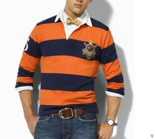 Super Scrum Rugby Shirt In Flyhalf Navy Stripe: Preppy Orange Men's Clothing