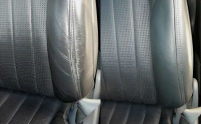 "Leather car seat, from ""tired"" to new thanks to our products!"