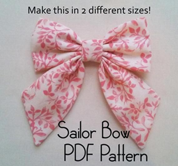 Sailor Bow PDF Pattern, sewing pattern, hair bow tutorial, bow pattern, hair accessory pattern, pdf pattern, girls pattern