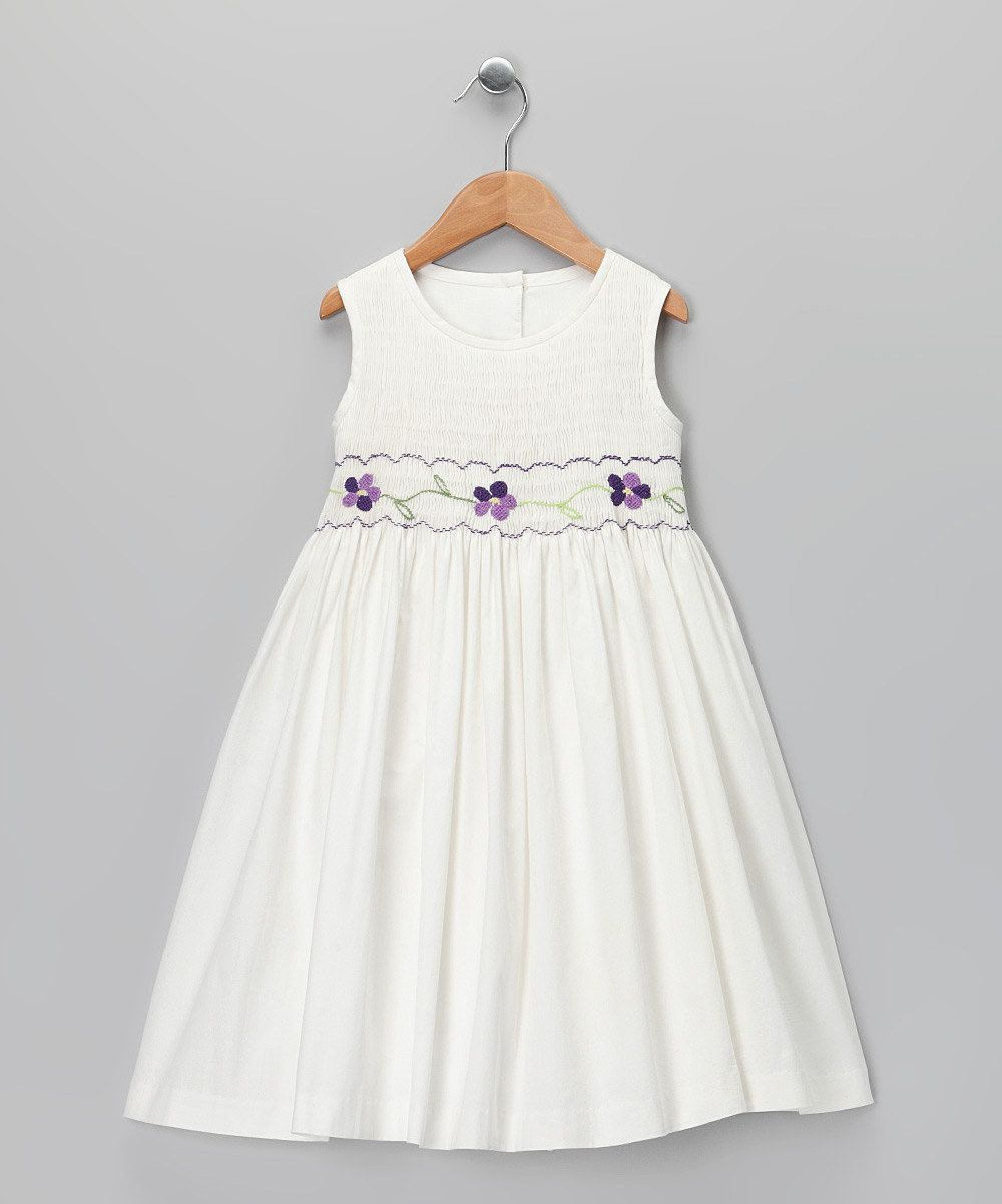 Take a look at this Jayne Copeland Ivory & Purple Smocked ...