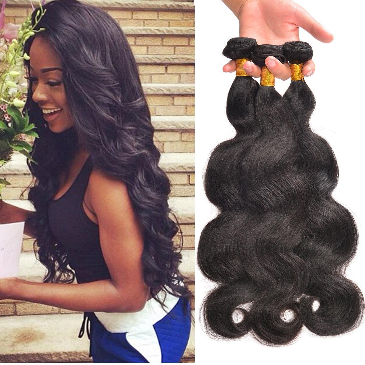 300g Bundle Human Hair Natural Black Virgin Brazilian Hair 20 22 24