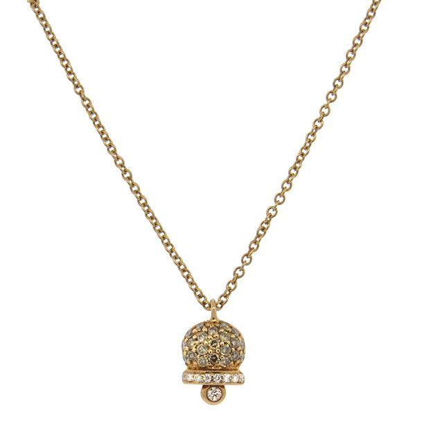 Italian 18K Rose Gold Diamond Bell Pendant Necklace