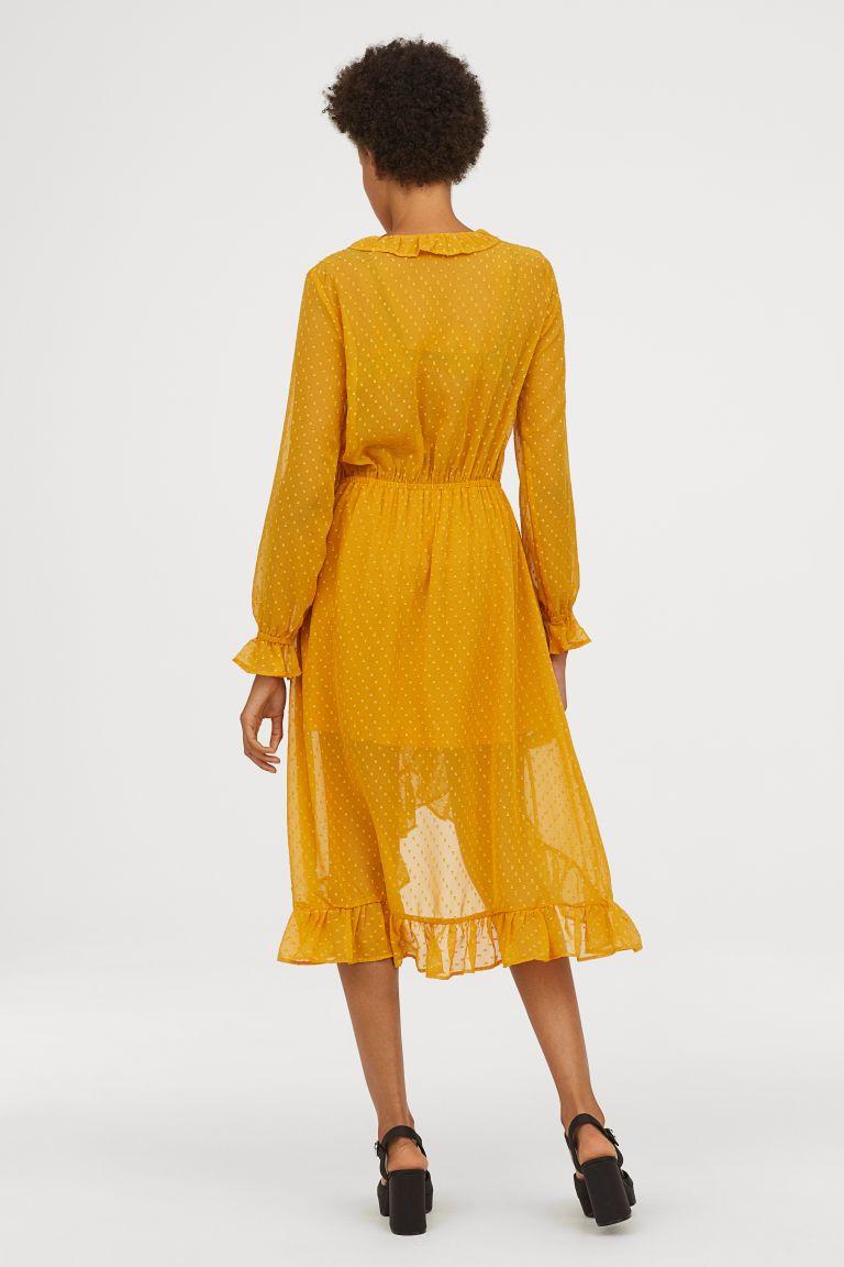 H&m dusty pink dress  HuM Calflength Dress  Yellow  Clothes  Pinterest  Mustard