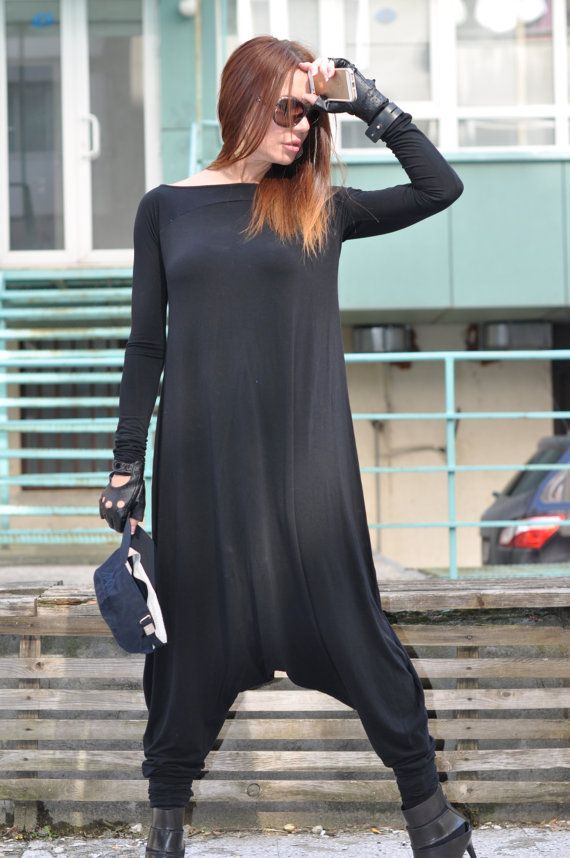 6b83df5906b7 Hijab Fashion Loose Jumpsuit   Maxi Dress XXL XXXL   Extravagant Long  Sleeves Jumpsuit   Casual Black Drop Crotch Harem Pants by…