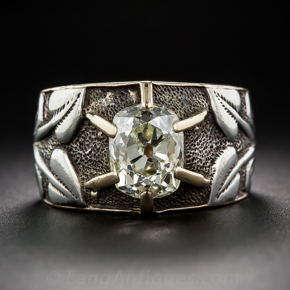 2.50 Carat Antique Cushion-Cut Diamond Art Nouveau Ring - 10-1-6658 - Lang Antiques