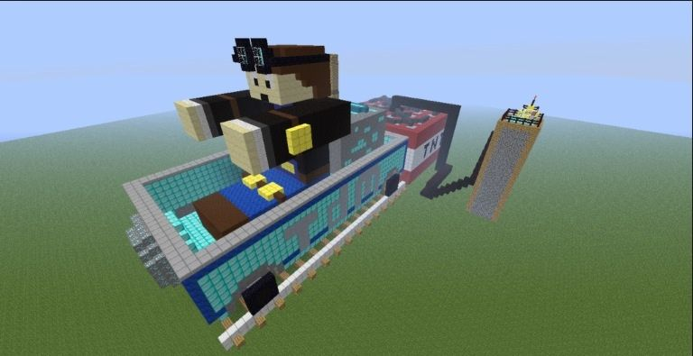 One of my favorite youtubers Are DanTDM and here is a build of him. He's the guy in the minecart.