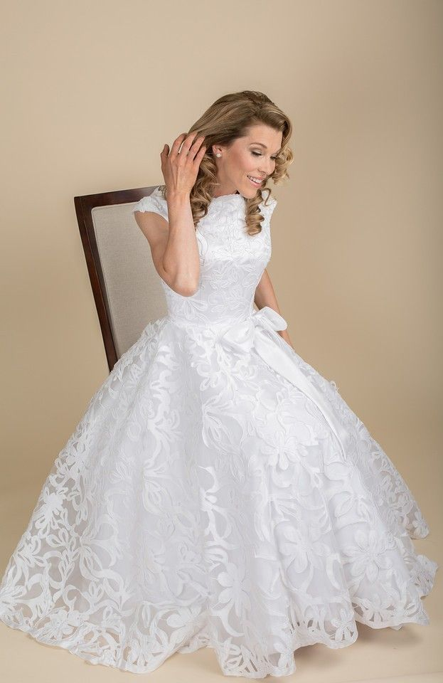 The Gretha Gown Is A Vintage Inspired Tea Length With Bateau Neckline
