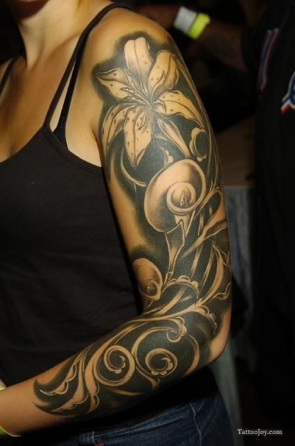 Lily Sleeve Tattoo Flower Tattoo Sleeve Girls With Sleeve Tattoos Sleeve Tattoos For Women