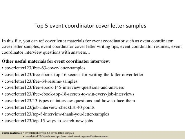 Event Coordinator Cover Letter Simple Top 5 Event Coordinator Cover Letter Sles  News To Go 3  Pinterest