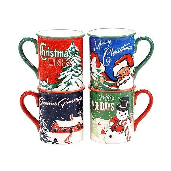 Certified International Retro Christmas 16oz Mug ($36) ❤ liked on Polyvore featuring home, kitchen & dining, drinkware, santa mug, certified international, snowman mug, santa claus mugs and holiday mugs
