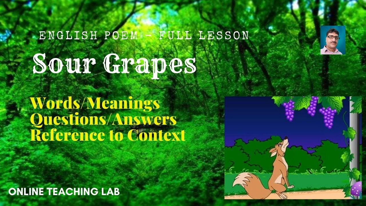 Poem Sour Grape Word Meaning Theme Explanation Question An Thi Or That Poems Moon Wind By Ted Hughe Paraphrase