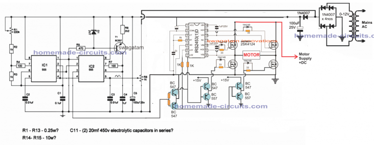 single phase VFD circuit using full bridge driver ... on