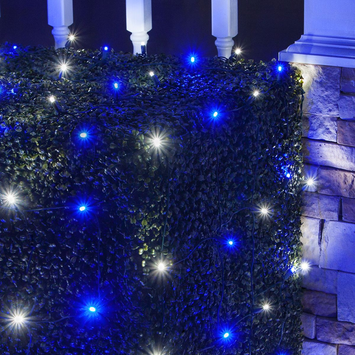 4\' x 6\' LED Net Lights - 100 Blue, Cool White Lamps - Green Wire ...