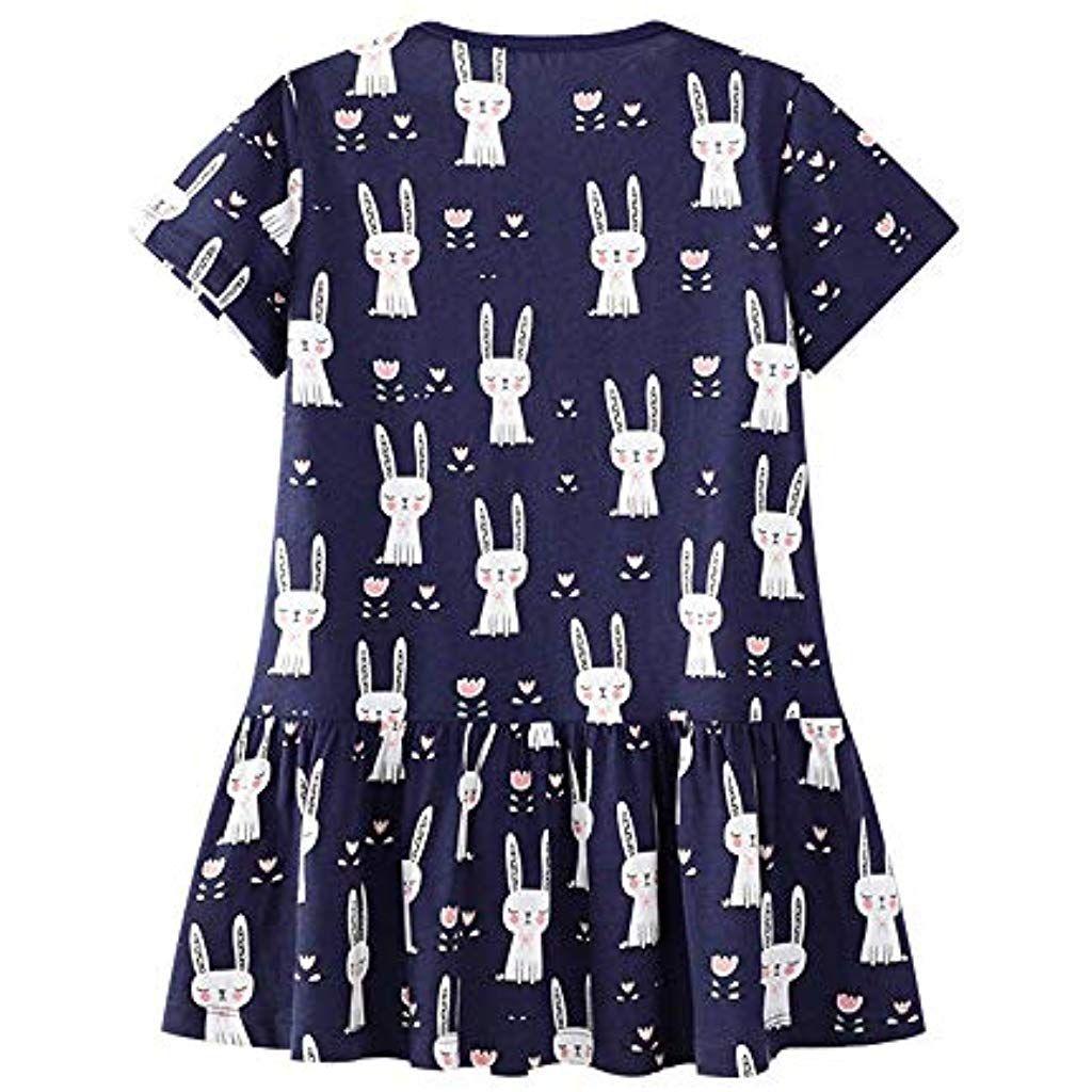 Mädchen Sommer Streifen Kurzarm Baumwolle TShirt Kleid 3