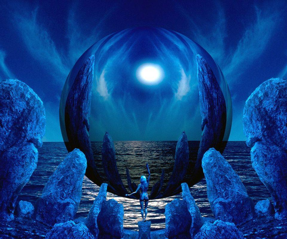Fantasy Landscapes Strange Blue Orb Fantasy Landscape Screen Savers Free Desktop Wallpaper