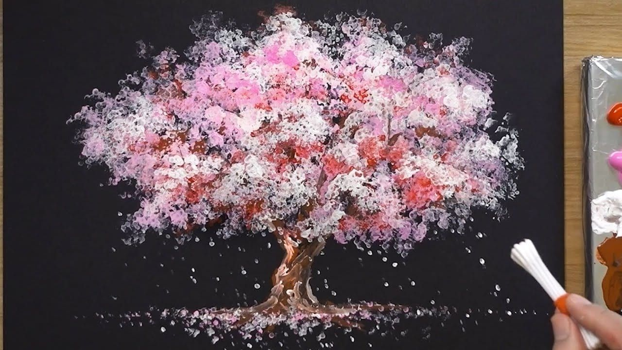 How To Paint A Cherry Tree In Acrylic Sakura Q Tip Painting Techniques 1 Q Tip Painting Cherry Blossom Painting Tree Painting