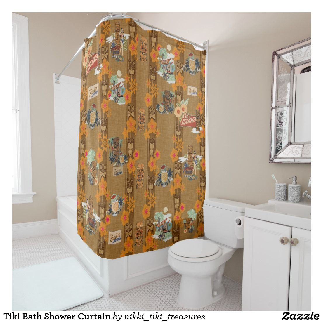Tiki Bath Shower Curtain Zazzle