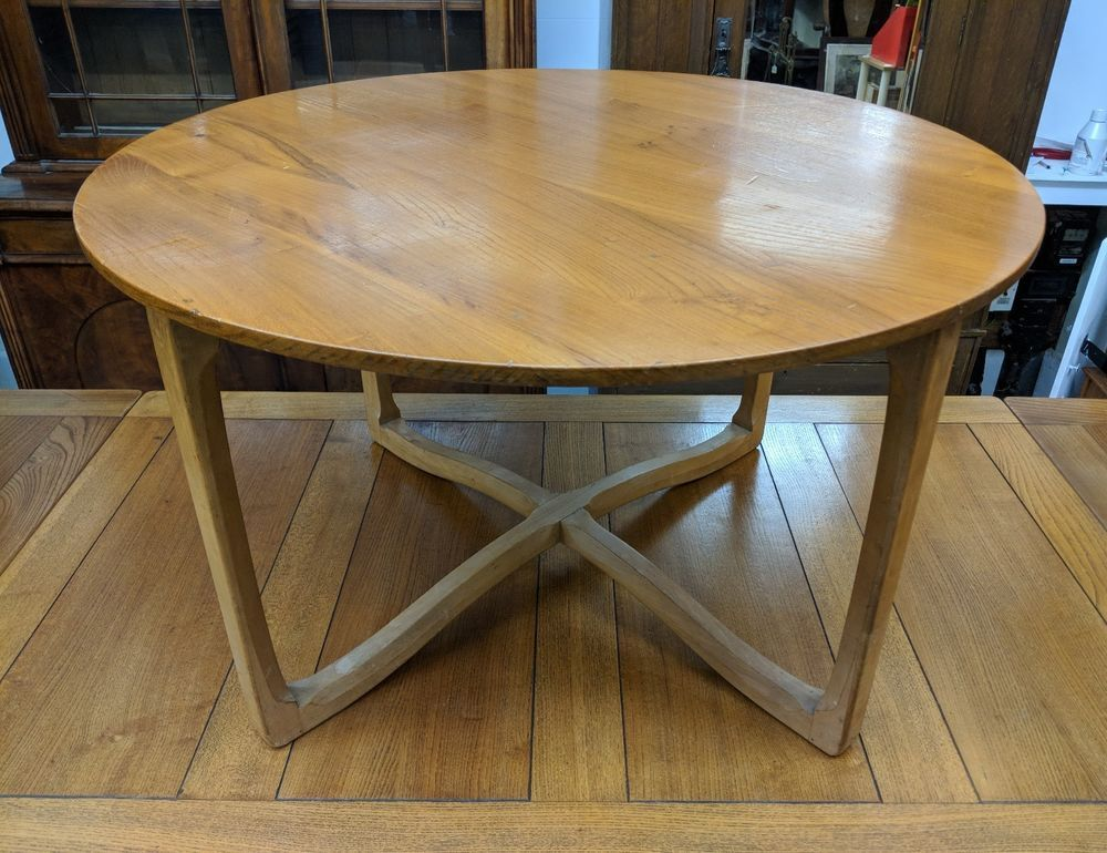 Rare Vintage Ercol Large Round Elm Coffee Table 719 Matching