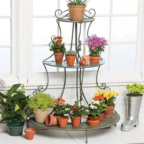 Antique Verdi 3-Tier Plant Shelf - http://rustic-touch.com/antique-verdi-3-tier-plant-shelf/