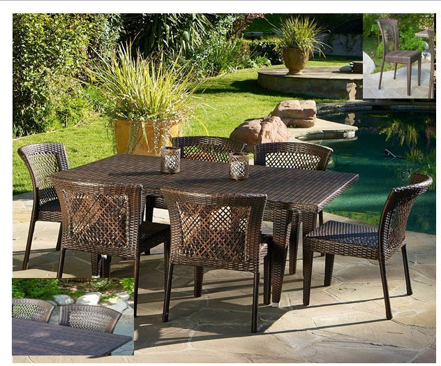 Outdoor Patio Furniture 7 Piece Table Chairs Set Dining Backyard Poolside Wicker