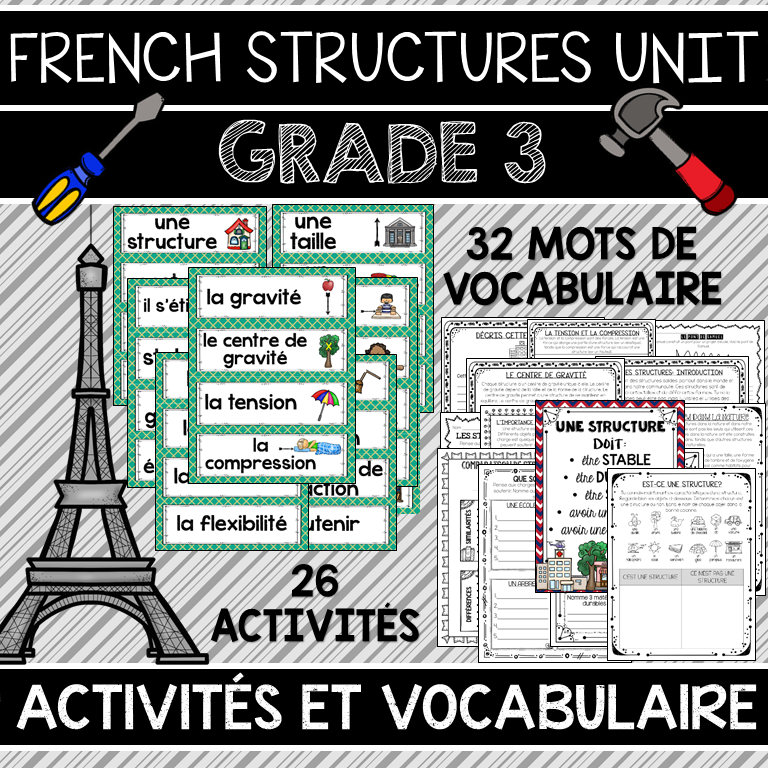 French Structures Unit Grade 3 Science Les Structures Stables Et