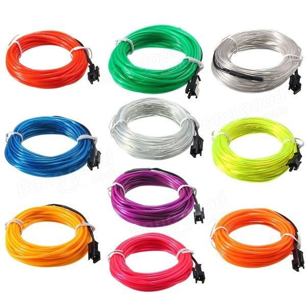 5M EL Led Flexible Soft Tube Wire Neon Glow Car Rope Strip Light ...