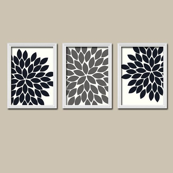 Black White Grey Wall Art Canvas Artwork Gray Charcoal Flower Burst Dahlia  Bloom Set Of 3 Trio Prints Decor Bedroom Bathroom Three