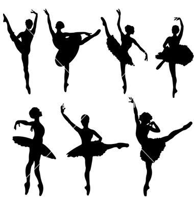 Ballet Ballerina\'s Silhouettes Template/ Stencil/ Mural 2. A Vector ...