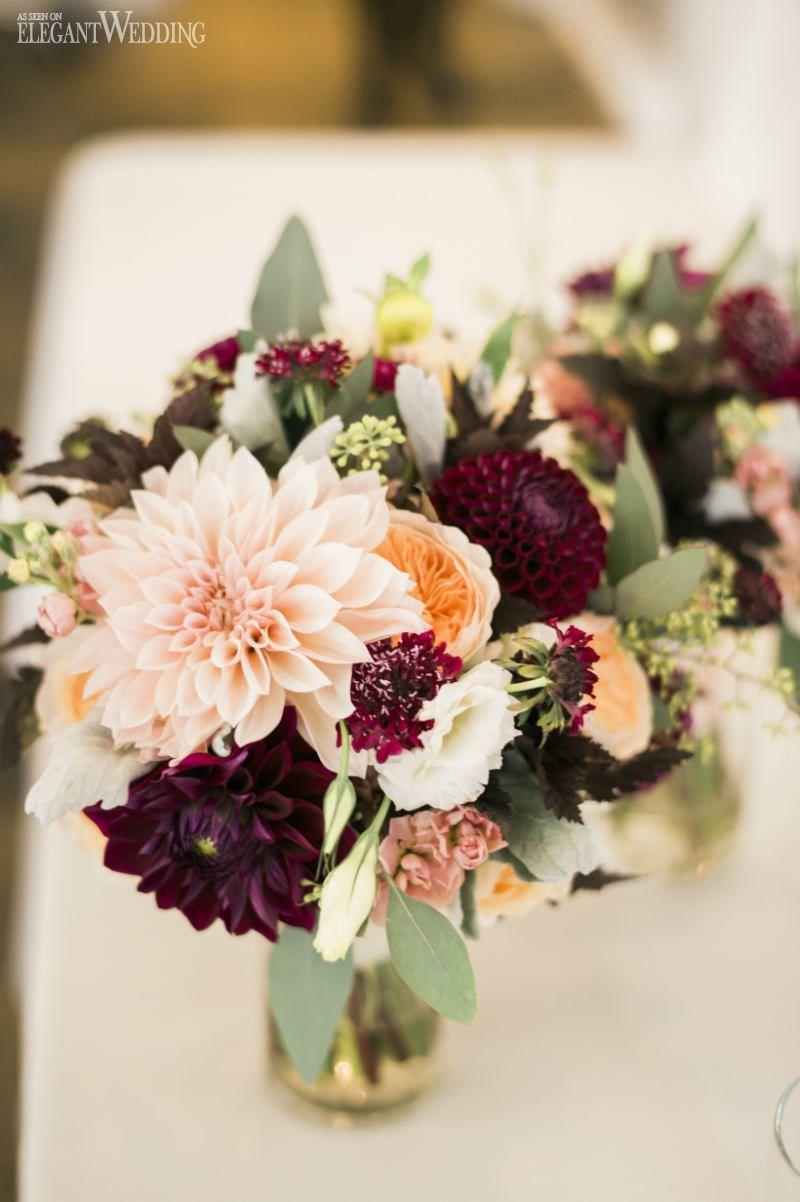 Gold and purple wedding flowers photo photo