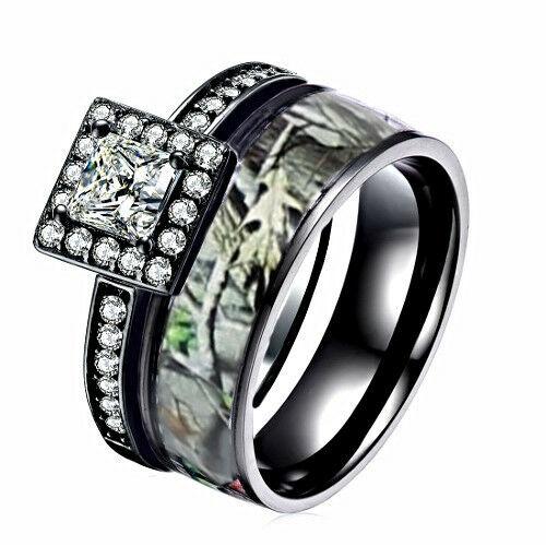 Details about CAMO Black WEDDING RINGS 2 piece Engagement