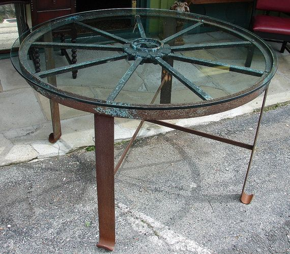 Kitchen Table And Chairs With Wheels: Reclaimed Large Industrial Vintage Handforged Iron Wagon