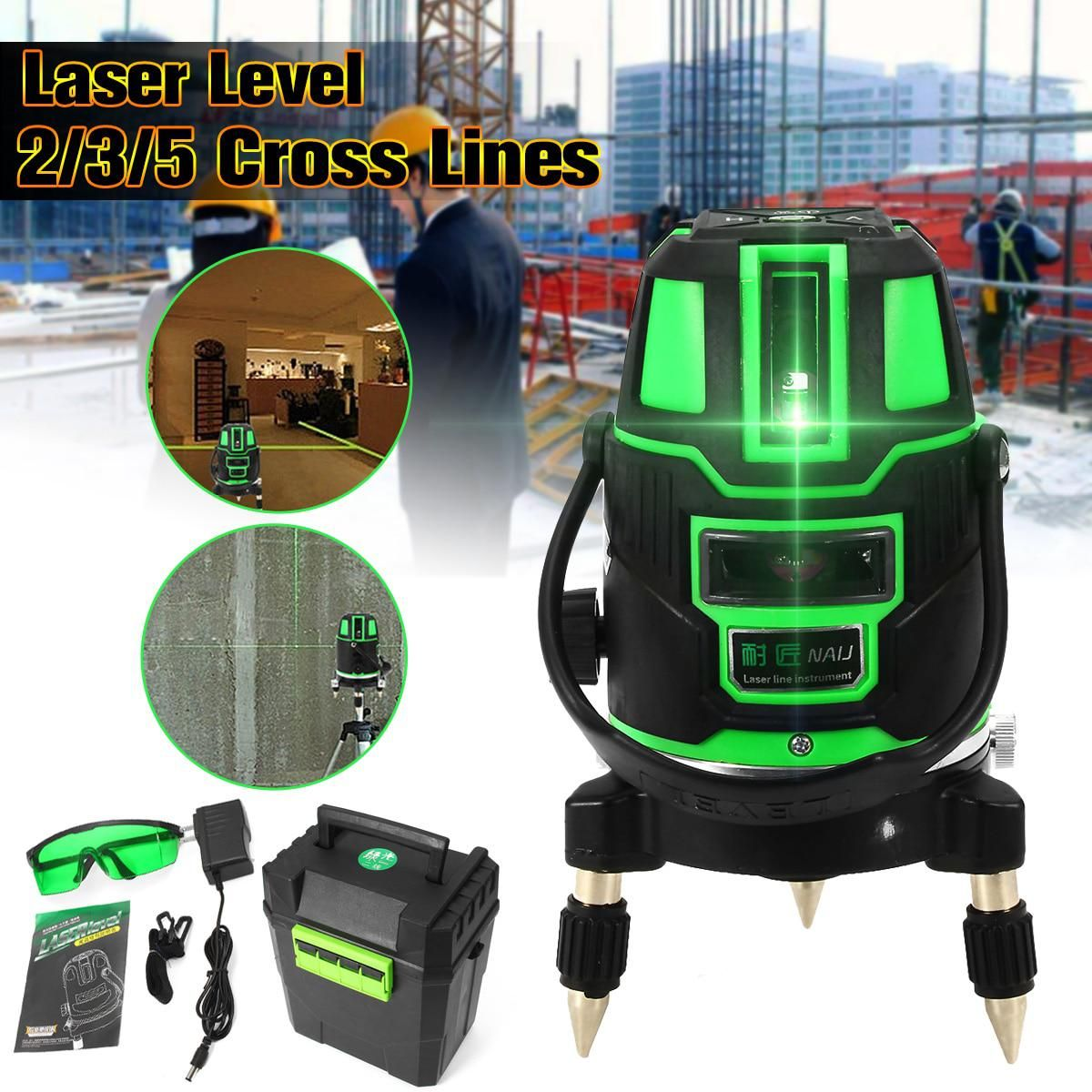 Cross Lines Self Leveling 360 Rotary Measure Tool Green Laser Level 2 3 5 Set Us Plug Radius Indoor Outdoor Alternating Direct Laser Levels Green Laser Rotary