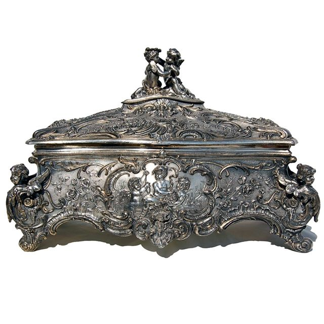 Antique WMF Silver Jewelry Box with Cupid Motif For Sale Antiques