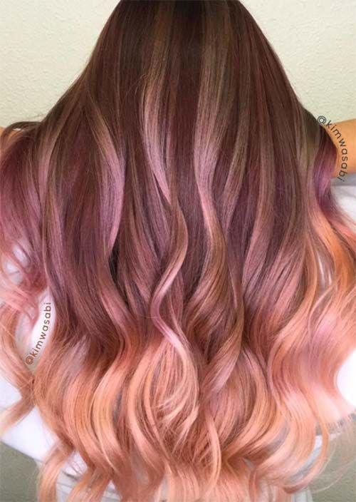 52 Charming Rose Gold Haarfarben: So erhalten Sie Rose Gold Hair - Neueste frisuren | bob frisuren | frisuren 2018 - neueste frisuren 2018 - haar modelle 2018