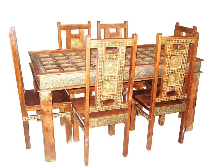 For Sale Sheesham Wood And Brass Fitted Dining Table Along With 6 Chair More Information