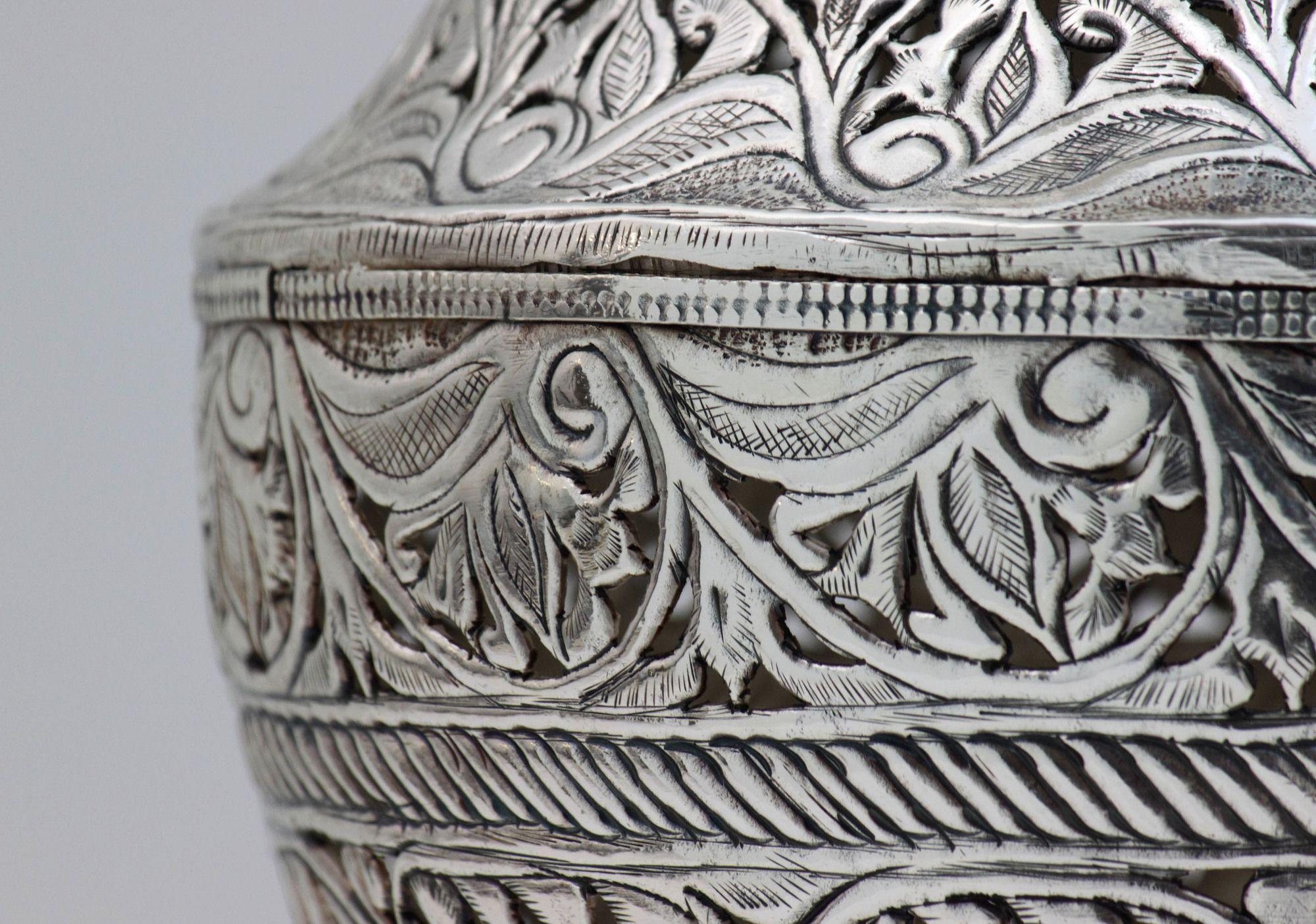Silver Embossed Vase | Yemeni Silverplated pierced Vase