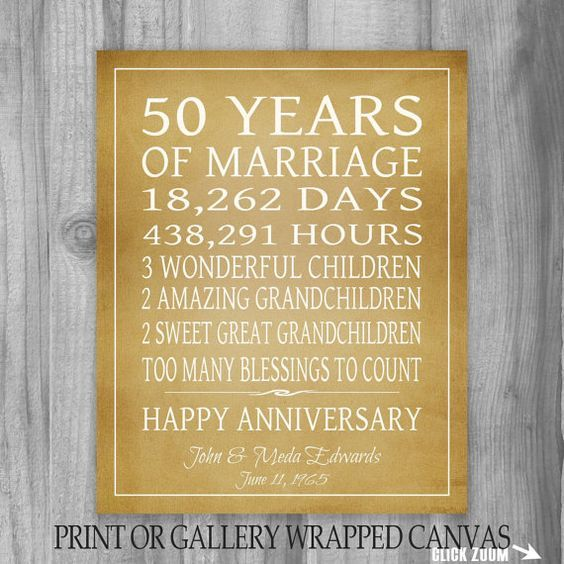 50th Anniversary Gift Print Or Canvas Grandparents Gift